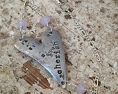 Heart Charm Bracelet Hand Stamped Cherish
