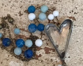 Heart Necklace with Cool Colored Beads