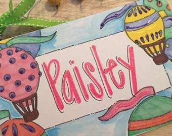 Hand personalized girls hot air balloon sign