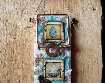 """Altered Mouse Trap """"Bird Egg"""", Mixed Media, Art, Ornaments, Inchies FREE SHIPPING!!"""