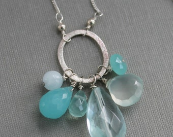 Aqua Chalcedony Cluster Necklace, Long Silver Chain Necklace, Silver Circle Pendant