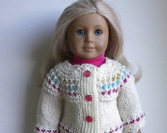 "18 Inch Doll Clothes Handknit Cardigan Sweater in Cream with Gold, Blue and Pink Handmade to fit American Girl & Other Similar 18"" Dolls"
