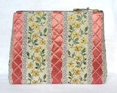 1950's Vintage Regency Fabric Wash Bag, Toiletries Bag - Large, Hand Quilted, & Sturdy - Shell Pink + Cream