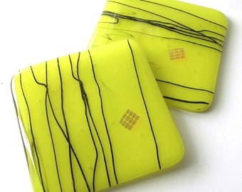 Fused Glass Coasters - Bright Lemon - Vibrant Abstract Glass Coasters