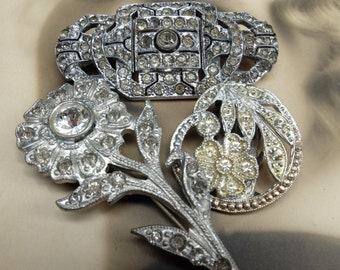 Vintage Pins Salvage Rhinestone Lot Destash AS IS