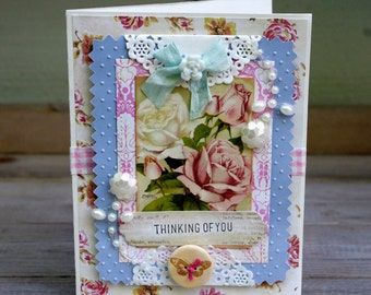 Thinking of You Shabby Roses Greeting Card