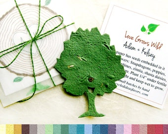 24 Seed Paper Trees Fall Woodland Wedding Favors - Tree Ring Favor Cards Monogram Initials - Personalized Pantable Paper Seed Favor Cards