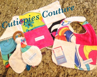 Cutiepies Couture Funky Faze set with bib, burpie, and all natural teething ring lovie set