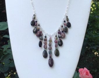 Rainbow Tourmaline Fringe Sterling Silver Necklace One of a Kind Love Goddess Gypsy Soulshine