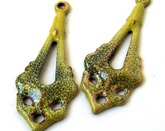 Rustic Yellow Enameled Long Drop Beads/Charms