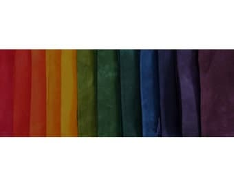 muted RAINBOW Color Wheel gradation hand dyed Fabric - 12 pc Fat Quarter Bundle - Tuscan Rose