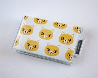 Handmade Vinyl Card Holder - Curious / card case, vinyl wallet, snap, women's, small wallet, cat wallet, kittens, cute, yellow, pet