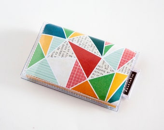 Handmade Vinyl Card Holder - Currently / card case, vinyl wallet, snap, women's wallet, small wallet, graphic, geometric, triangle, yellow