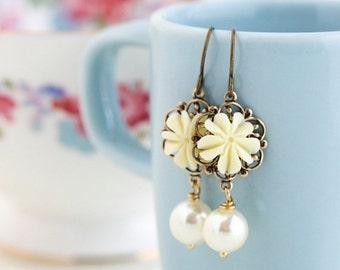 Sale - Ivory Earrings, Wedding Jewelry, Ivory Earrings, Ivory Glass Pearl Bead, Dangle Earrings, Pearl Earrings, Gift For Woman, Valentines