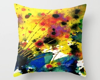 "Yellow Abstract Pillow, blue,red,orange,black Abstract painting, Art, ""Abstraction No. 02"" Original Painting by Kathy Morton Stanion  EBSQ"