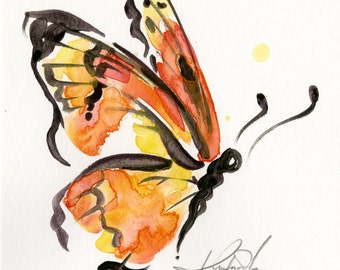 Brushstroke Monarch No. 7 ... Original abstract watercolor butterfly painting by Kathy Morton Stanion  EBSQ