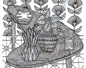 Coloring Page: DOWNLOAD AND PRINT Retro Kidney Table with Plants