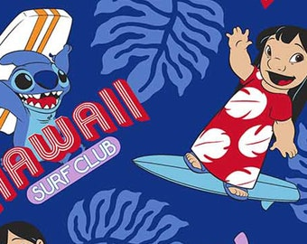 "Disney, Lilo & Stitch, ""Surf's up"" on Blue, Cotton fabric, LAST 42 Inches"