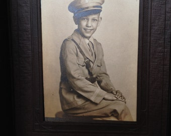 Little Boy in Uniform - Antique Photograph in Folder - Gift - Display - Instant Ancestor