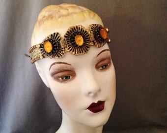 Authentic Edwardian, Gatsby Rhinestone, Filigree Headpiece, Head Band, Circlet, Bridal, Topaz, Large