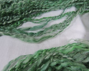 Handspun Art Yarn Bulky Thick and thin Textured Mohair Green 16-8-10