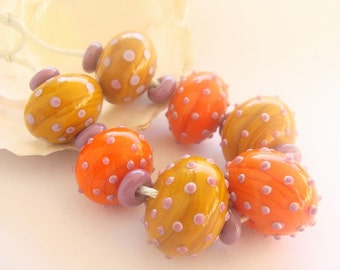 RESERVED - 7 Hollow Handmade Lampwork Beads & 8 Spacers