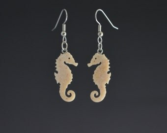 Small Seahorse Corian Earrings  Recycled earrings  Pierced earrings Dangle earrings Upcycled jewelry Recycled jewelry Mark Noll