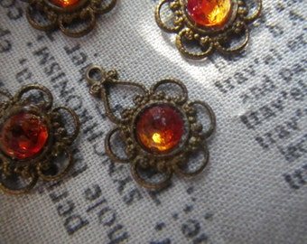 Floral Filigree with Swarovski Fire Opal Chatons Brass Ox Drops 4 Pcs