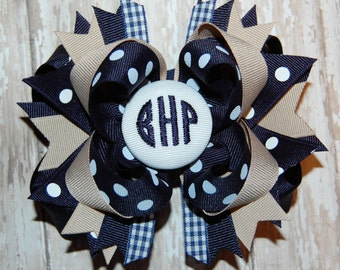 Monogrammed Uniform Bow - School Bow - Monogram Bow - Personalized Bow - Headband Bow - Custom Embroidered Bow