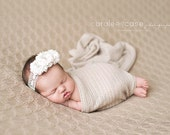 Newborn Girl Photo Prop Handmade flower headband for baby Ivory White