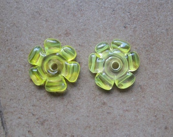 Lampwork Beads - SueBeads - Disc Beads - Daffodil Cut Disc Flower Bead Pair - Handmade Lampwork Beads - SRA M67