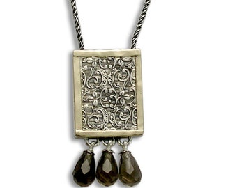 Silver Filigree Necklace, Silver Gold Necklace, Filigree Woodland Necklace, Smoky Quartz Briolette, Square Pendant- Revolving doors N4545