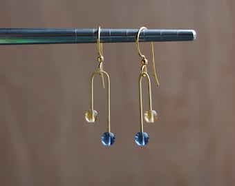 Recycled Guitar Wire Earring with Brass earwires, Glass beads