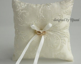 Ivory Wedding ring pillow,ring bearer pillow, wedding pillow , ring bearer, ring cushion-ready to ship