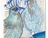Watercolor Original Art Blue Birds ACEO