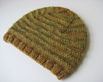 gold and green hand knit hat