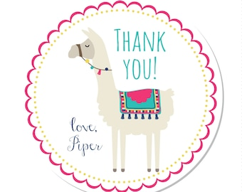 Personalized Stickers -- Alpaca - Llama -- Party Favor Stickers, Personalized Labels, Personalized Book Stickers -- Choice of Size