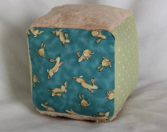 Blue Guess How Much I Love You Fabric Block Rattle