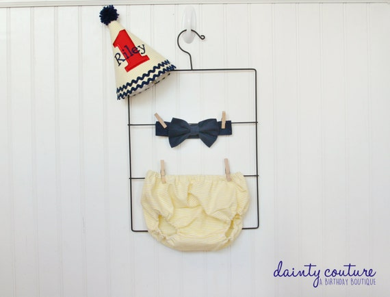 First Birthday Hat Bow Tie Diaper Cover