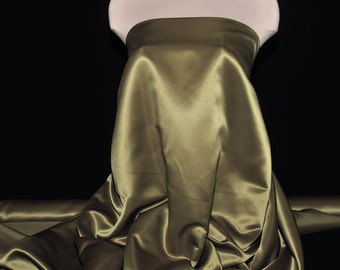 """Duchess satin Fabric 60""""  Olive green ... bridal, formal, pageant, suits , home decor..wedding...crafts"""