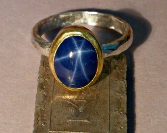 Star Sapphire Ring , solitaire ring ,22 kt karat gold and silver ring,  sapphire birthstone ring
