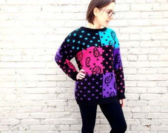 1980's Amoeba Sweater // SCIENCE // Neon Colors // 80s Oversized Jumper // Polka Dots // Black and Pink // Neutrons Cells Biology // paisley