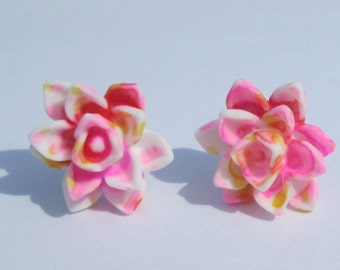 small pink yellow white splatter design lotus flower pierced post hand made earrings by Ziporgiabella