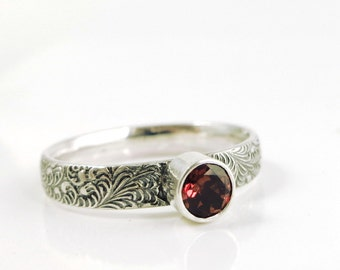Garnet ring, Sterling Silver, feather, red gemstone, stacking ring, Birthstone jewelry