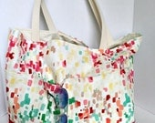 beach bag/market tote abstract painting pallet