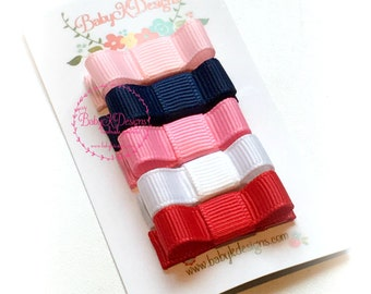 Infant Clips / Baby Bow / Baby Snap Clips / Newborn Baby Girls 5 Pack Bows Pink Navy White Red / No Slip Hair Clips / For nearly bald babies