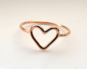 Heart Ring 14K Rose Gold - Bridesmaid Jewelry - Gift for her