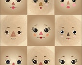 Prim rag doll cloth doll faces ready to sew fabric panel tan A5T