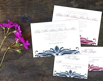 Elegant Baroque Wedding Invitation Set, Baroque Event Invitation, Custom Wedding Invitation, Wedding response cards, thank you cards