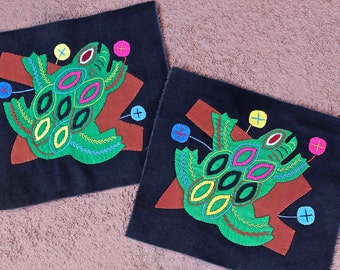 Fabulous Mola Folk Art Frog PAIR - 2 for one SALE! Hand Sewn Kuna Indian Applique